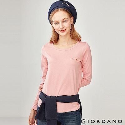 GIORDANO 女裝純棉小巧刺繡長袖T恤-43 玫瑰粉色
