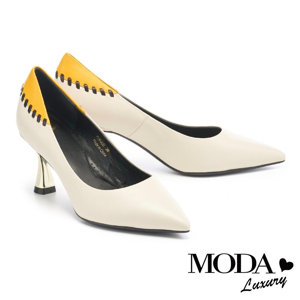 高跟鞋 MODA Luxury 摩登玩味縫線造型羊皮尖頭高跟鞋-白