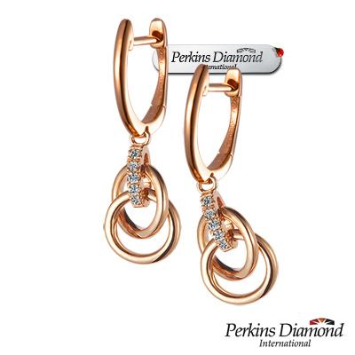 PERKINS 伯金仕 - Cercle系列 14K玫瑰金 鑽石耳環