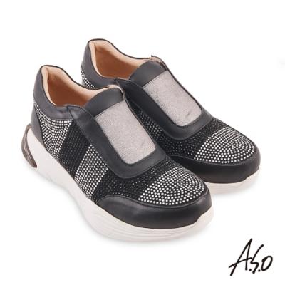 A.S.O  機能休閒 活力雙核心燙鑽金屬感鬆緊帶休閒鞋-黑