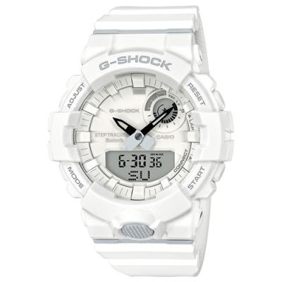 G-SHOCK 藍牙運動鍛鍊步數分析雙顯錶(GBA-800-7A)-白/48.6mm