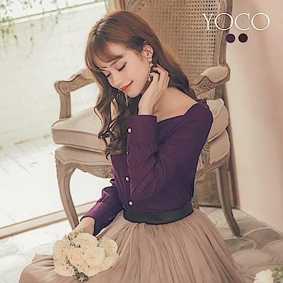 東京著衣-yoco 美顏效果公主排釦大U領上衣-S.M.L(共二色)