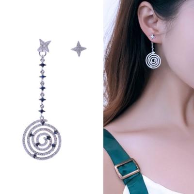 梨花HaNA 韓國925銀藍色寶石螺旋碎鑽星辰耳環