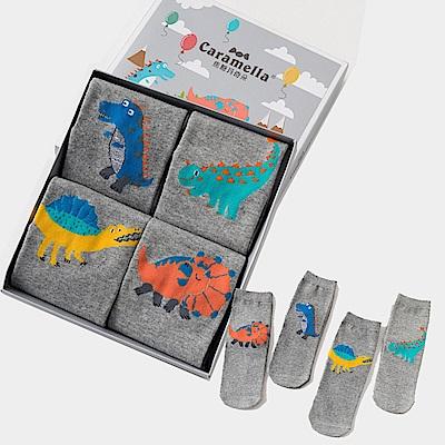 秋冬寶寶中筒卡通童襪4雙組-恐龍Baby