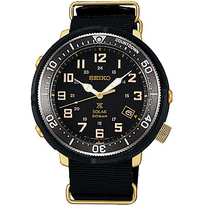 SEIKO精工 PROSPEX 復古軍風太陽能帆布錶(SBDJ028J)-黑/44.5m