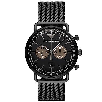 Emporio Armani 亞曼尼質感米蘭帶計時手錶(AR11142)-黑/42mm