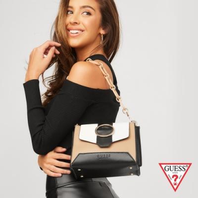 GUESS-女包-時尚撞色圓環粗鍊條斜背包-棕 原價3090