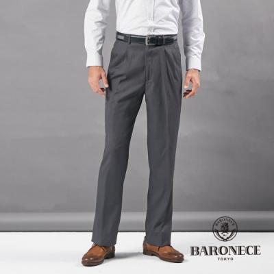 BARONECE 百諾禮士休閒商務  男裝 打褶彈力西褲--黑灰色(1206846-98)