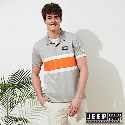 JEEP 造型拼接運動風短袖POLO衫-灰色