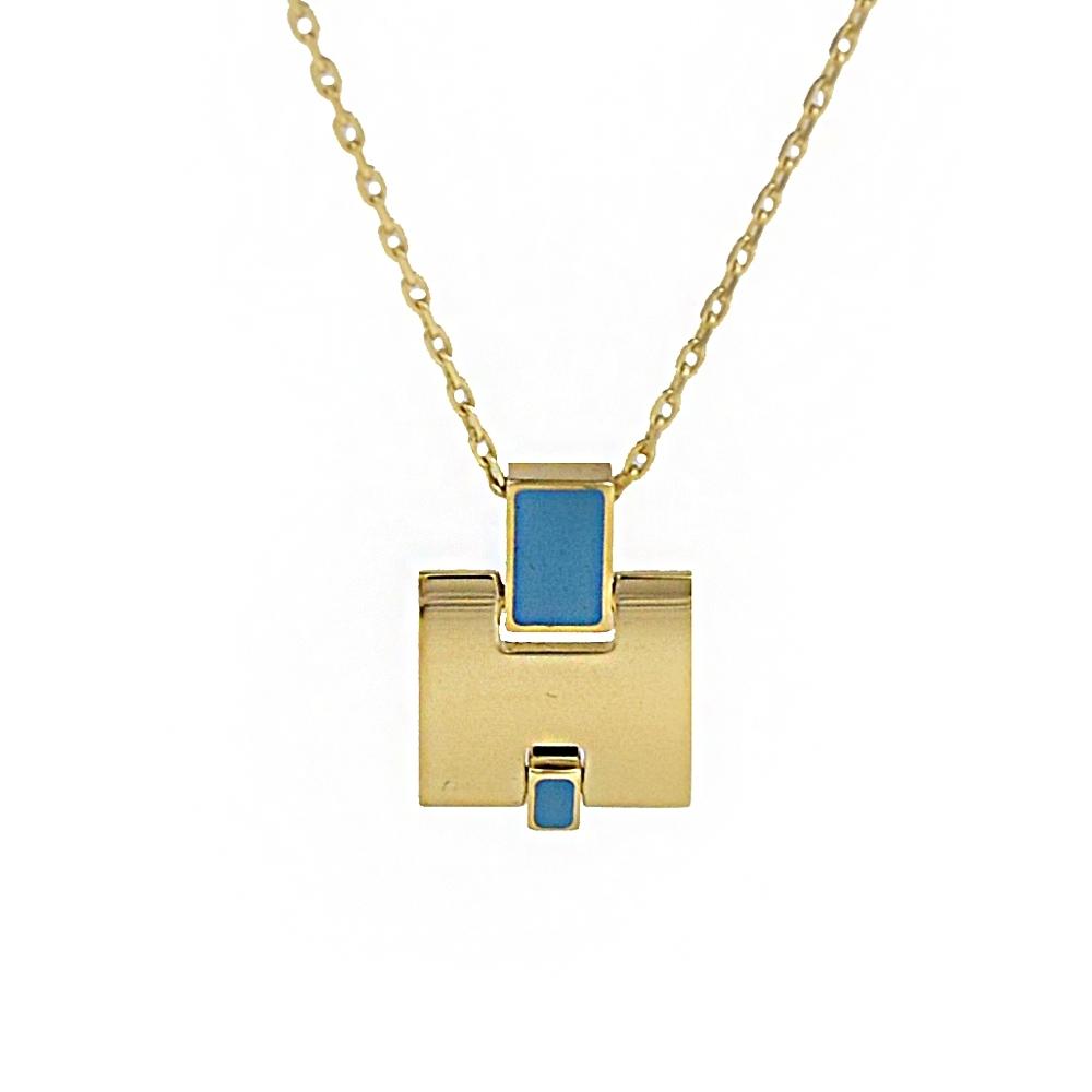 HERMES Eileen LOGO造型項鍊(金/藍)