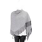 ALLUDE 喀什米爾羊毛灰色麂皮流蘇圍巾/披肩