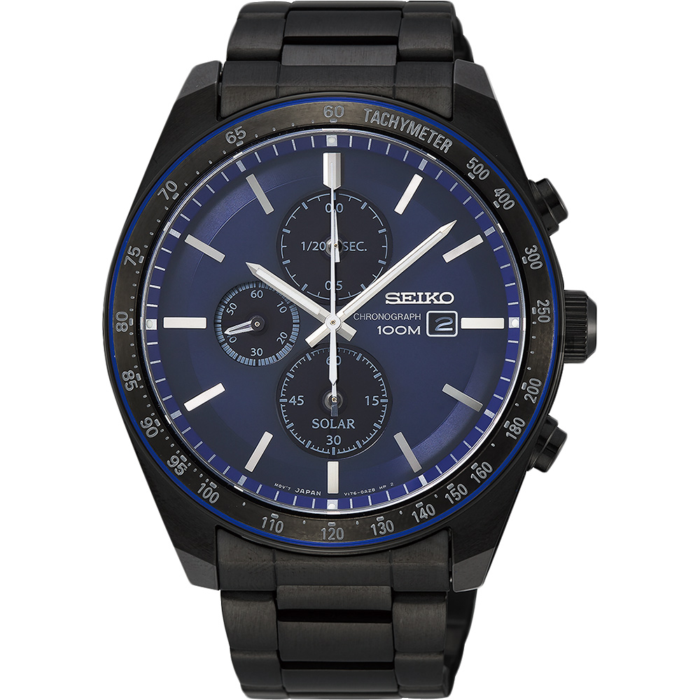 SEIKO 精工 Criteria 太陽能台灣獨賣計時碼錶(SSC731P1)