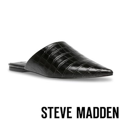 STEVE MADDEN-TIFF 皮紋尖頭平底拖鞋-黑色