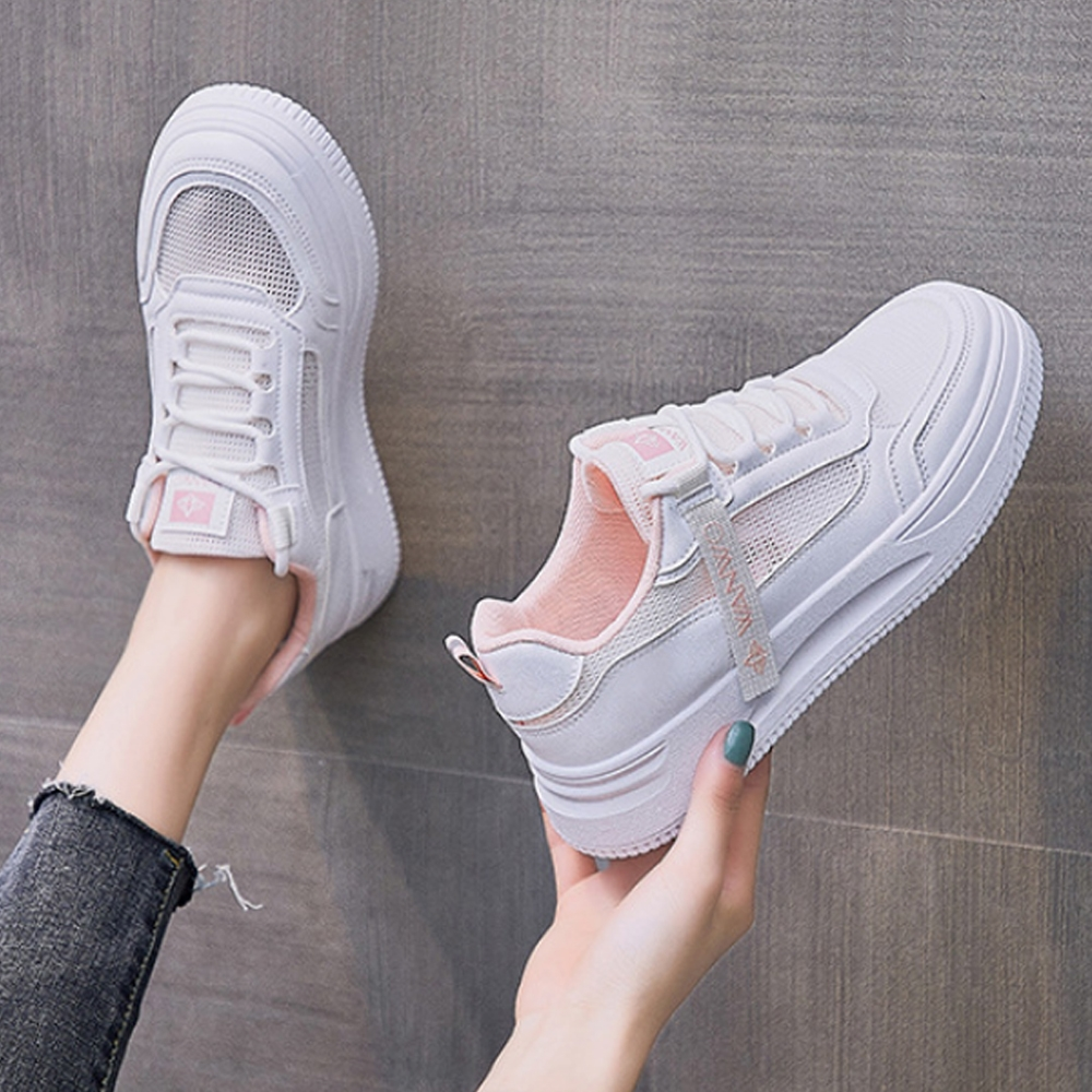 LN  現+預 韓版透氣網面織帶小白鞋(休閒鞋/平板鞋) (白粉色)