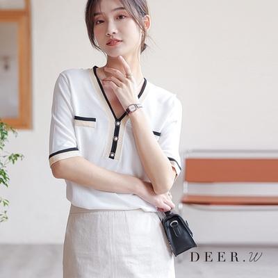 DEER.W 小香風珠釦冰絲針織上衣(兩色)