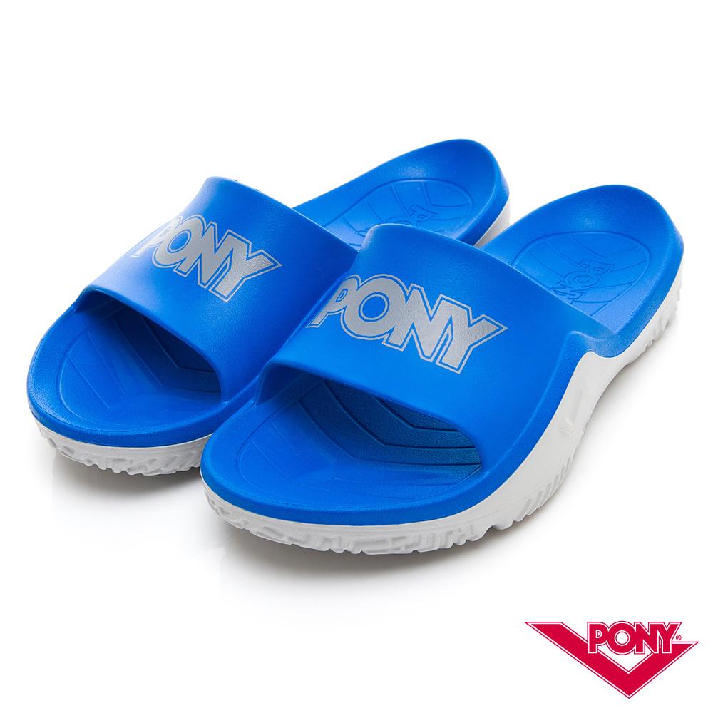 【PONY】輕量抗菌防臭防滑運動拖鞋 涼鞋 男鞋 女鞋 寶藍