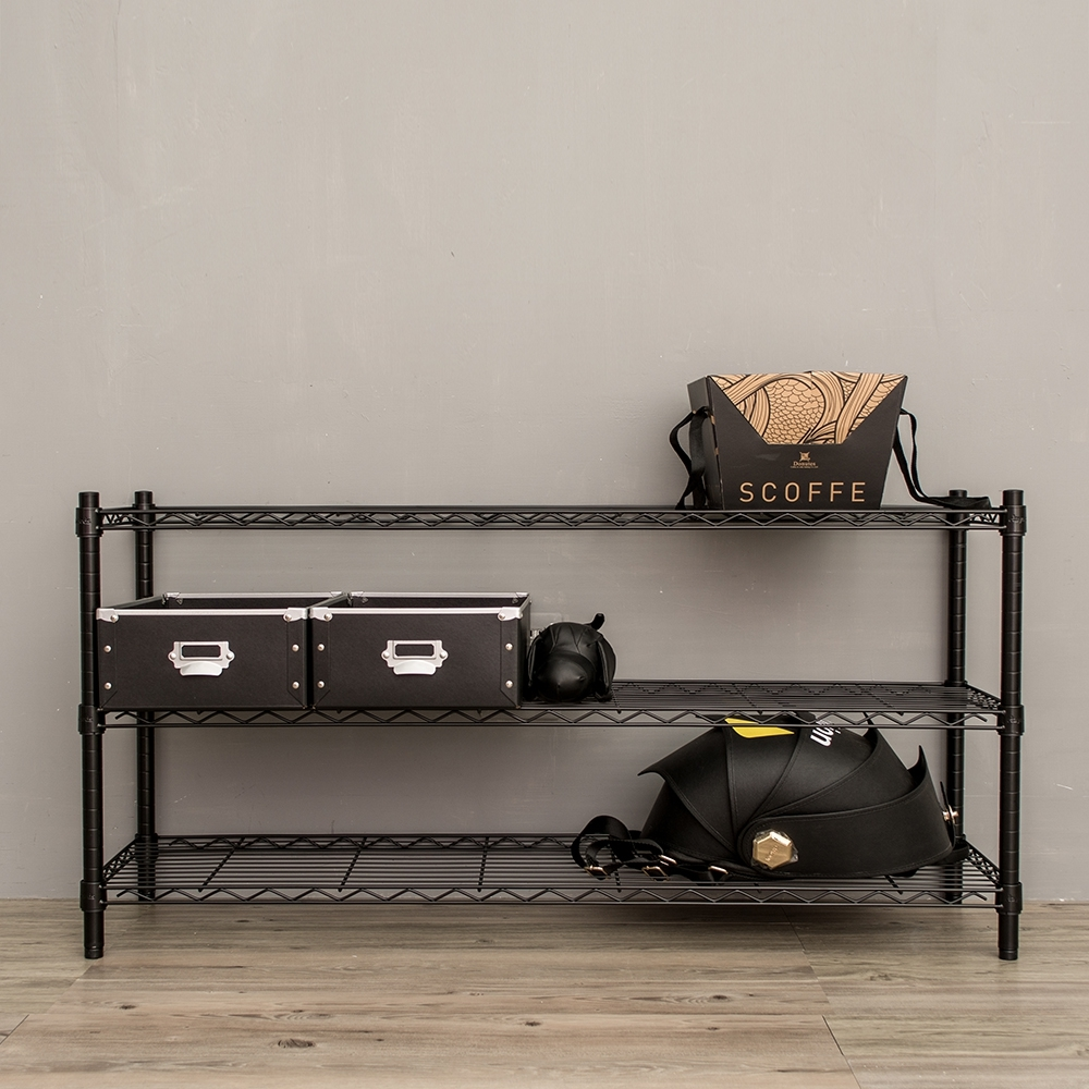dayneeds輕型三層鐵架烤漆黑120x35x60cm