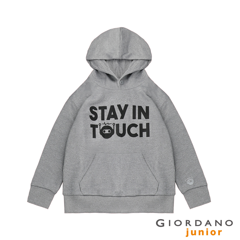 GIORDANO 童裝STAY IN TOUCH印花口袋鈕扣帽TEE-27 灰色