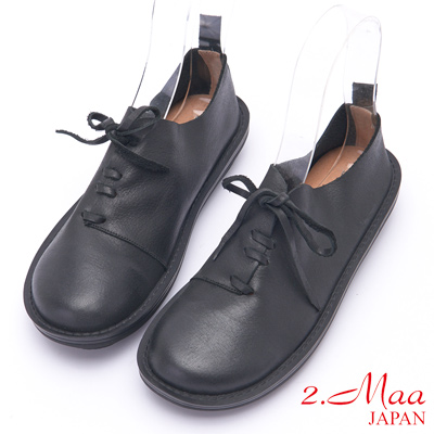 2.Maa 刷舊設計感牛皮綁帶包鞋 - 黑