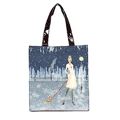 Reiko Aoki青木禮子Snow View彩繪手提包-藍色