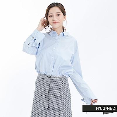 H:CONNECT 韓國品牌 女裝 - 領鏤空綁帶袖襯衫-藍(快)