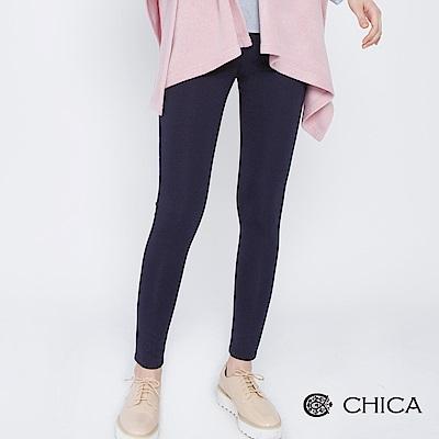 CHICA 女子讀書會鏡面單釦彈力內搭褲(2色)