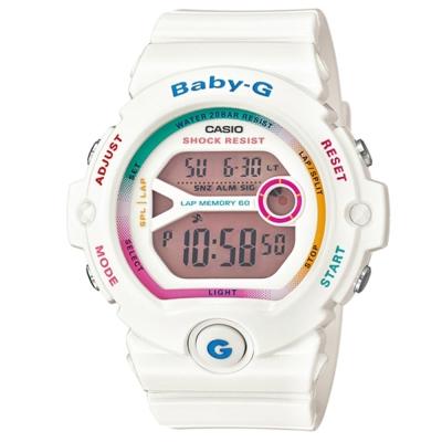 BABY-G 繽紛多彩慢跑女孩新主張休閒運動錶(BG- 6903 - 7 C)-雪白/ 45 mm