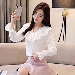 IMStyle 氣質荷葉寬鬆V領雪紡衫(白/粉紅/粉藍色)