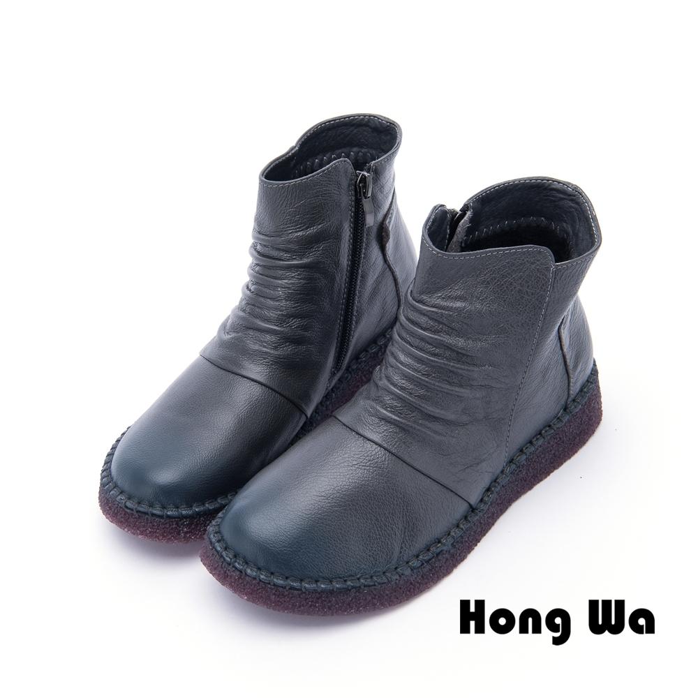 Hong Wa - 網紅推薦牛皮拉鍊短靴 - 灰