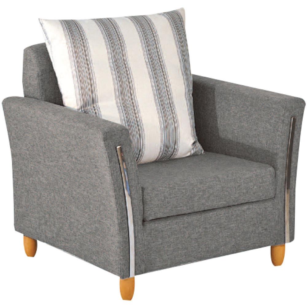 綠活居 班加卡時尚灰亞麻布單人座沙發椅-88x84x87cm免組