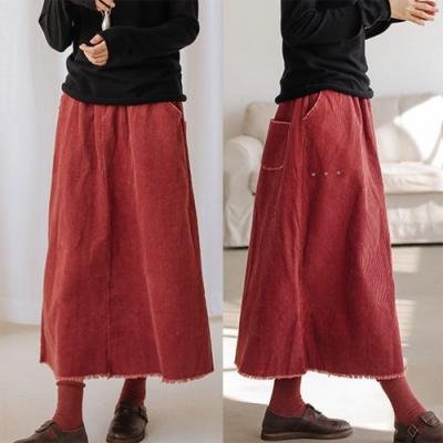 毛邊設計燈蕊絨中長裙-設計所在