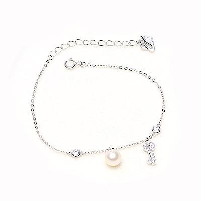 Hera 赫拉 925純銀天鵝珍珠鑰匙手鍊