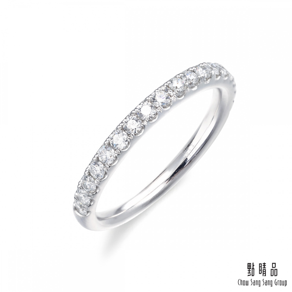 點睛品 Promessa 經典排鑽 0.39克拉鑽石戒指 線戒
