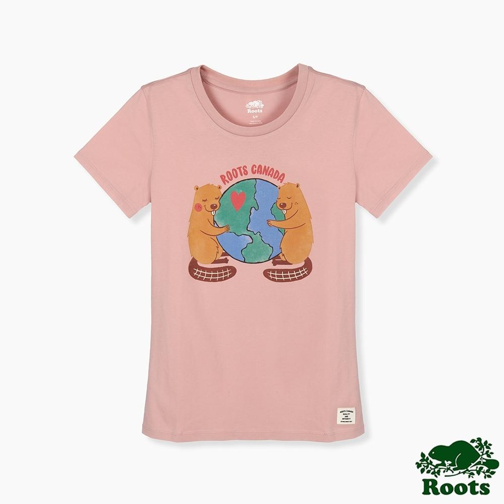 Roots 女裝- 環保有機棉系列 擁抱地球短袖T恤-粉色