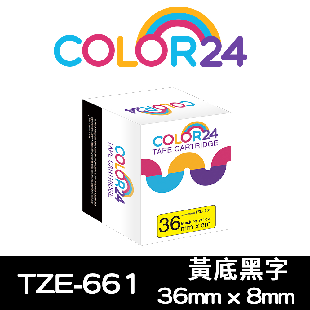 Color24 for Brother TZe-661 黃底黑字相容標籤帶(寬度36mm)