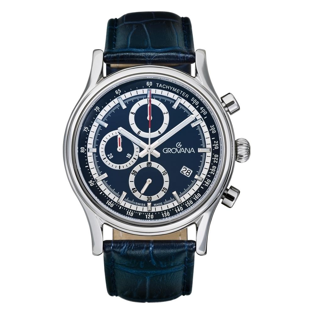 (福利品) GROVANA瑞士錶 Specialties系列三眼計時石英男錶(1730.9535)-藍面x藍色皮帶/41mm
