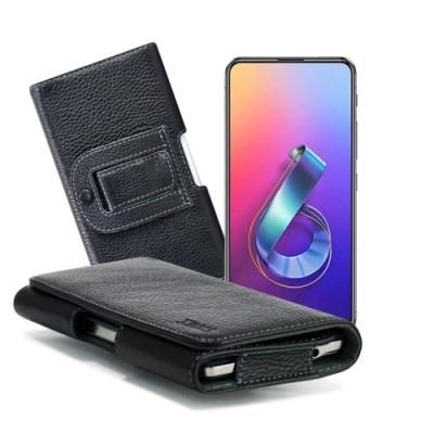 Xmart for ASUS ZenFone 6 ZS630KL 麗緻真皮腰掛皮套