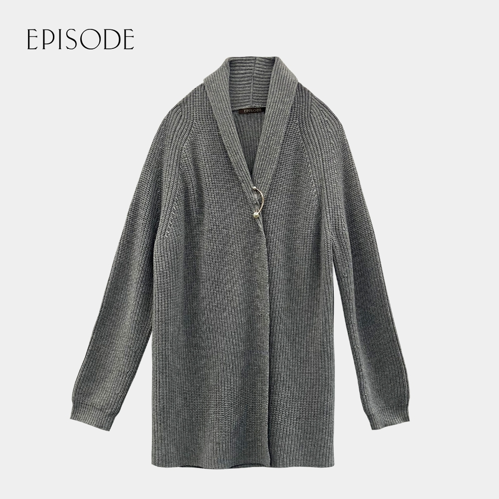 EPISODE - 灰色簡約小翻領羊絨混紡中長版針織外套