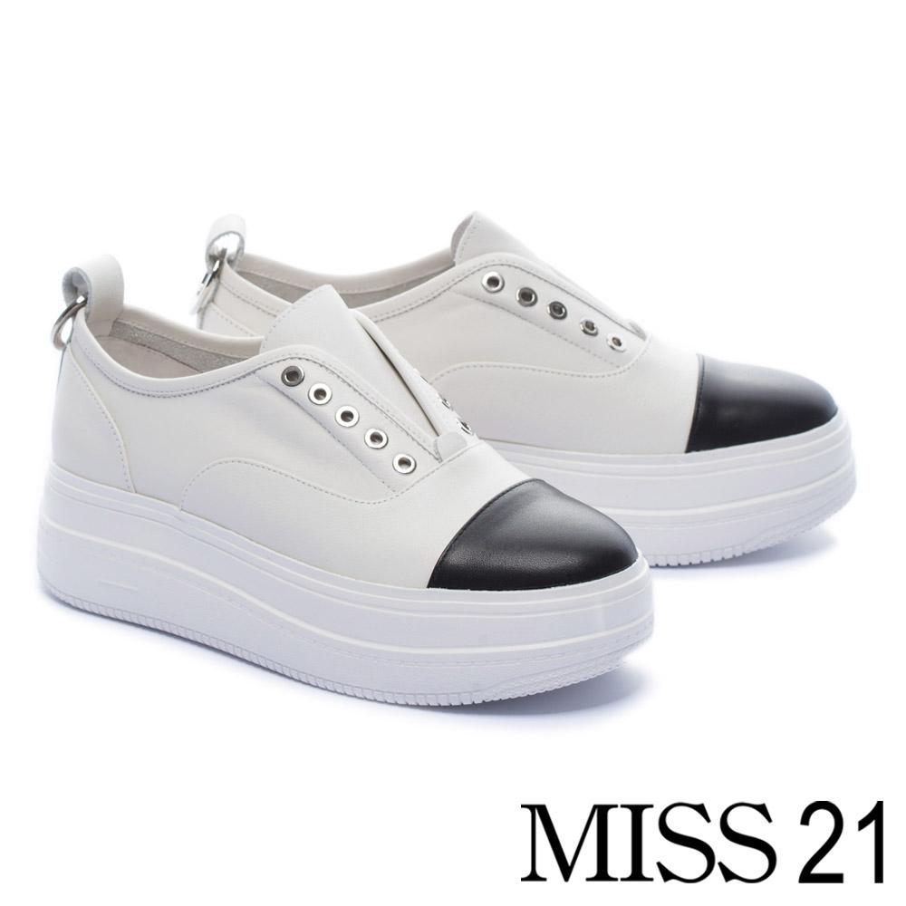 休閒鞋 MISS 21 活潑拼色量感鞋底設計全真皮厚底休閒鞋-白