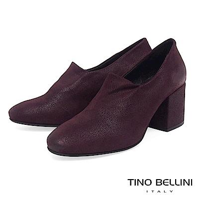Tino Bellini義大利進口特殊啞光布料高跟踝靴_酒紅