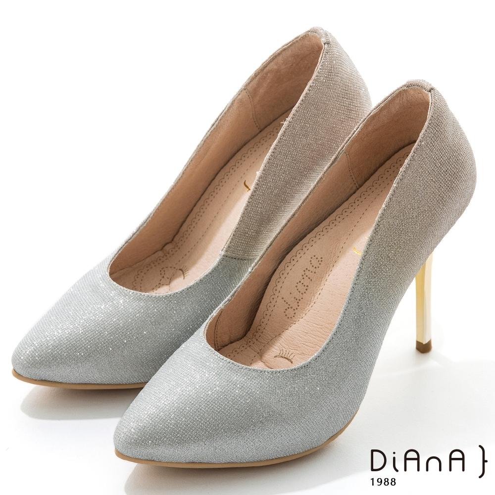 DIANA 10.5cm漸層法式鑽石紋前微尖頭高跟鞋-漫步雲端焦糖美人-銀金