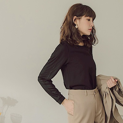 純色拼接布蕾絲袖長袖上衣-OB大尺碼