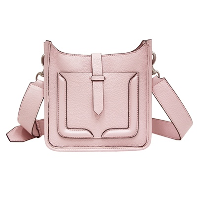 REBECCA MINKOFF MINI UNLOADED FEED 牛皮斜背包-灰粉色