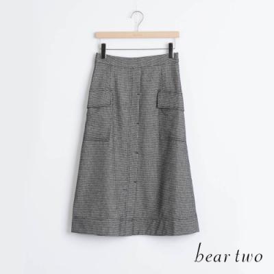 bear two- 大口袋A字長裙 - 黑