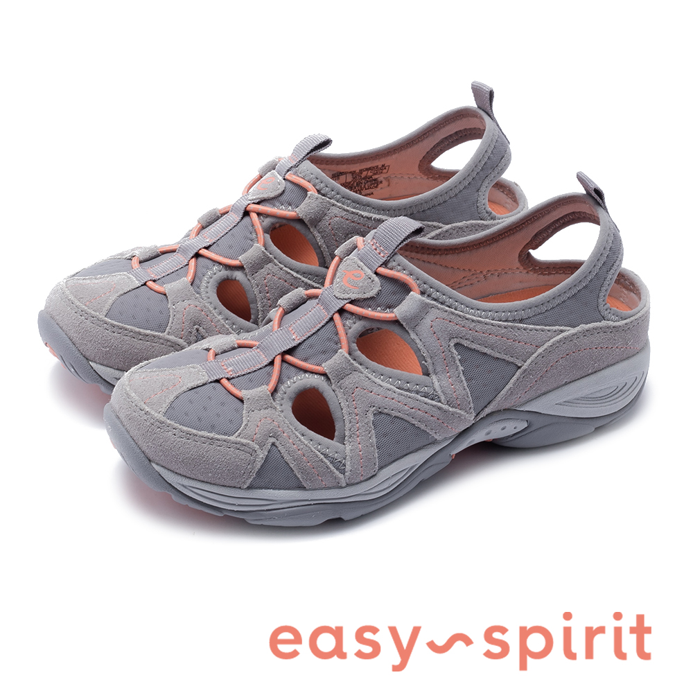 Easy Spirit-seEARTHEN 多彩多色 後跟鏤空撞色涼休閒鞋-灰橘