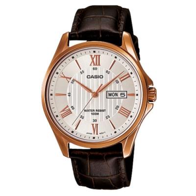 CASIO 時尚混搭羅馬玫瑰金字皮帶錶-白(MTP-1384L-7A)47mm