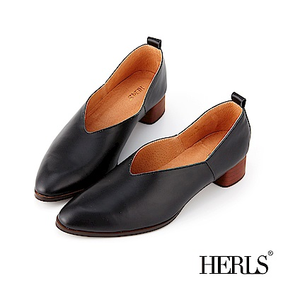 HERLS 復古優雅 全真皮V口素面粗跟鞋-黑色