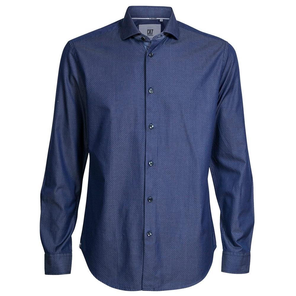 CR7-小點點印花修身版襯衫-深藍 (8664-7260-042)