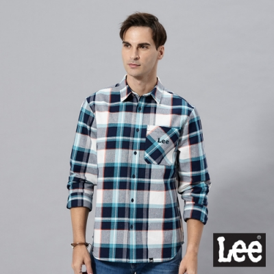 Lee 長袖休閒襯衫格紋Lee刺繡法蘭絨 男 藍