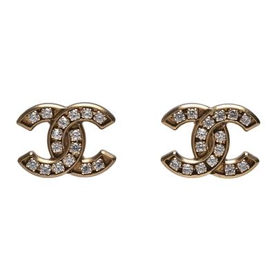 CHANEL 經典雙C LOGO框邊造型水鑽鑲飾穿式耳環(古銅金)